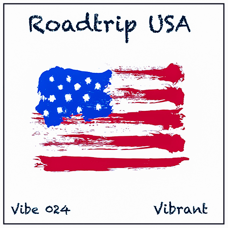 Roadtrip USA album cover, white background, sketchy watercolour American flag