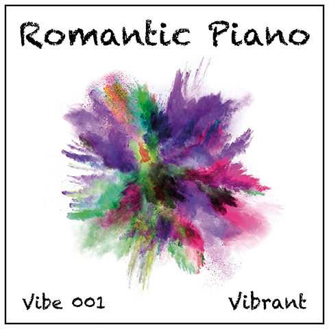 Romantic Piano album cover, white with graphics and flower-shaped multi-colour splash in centre