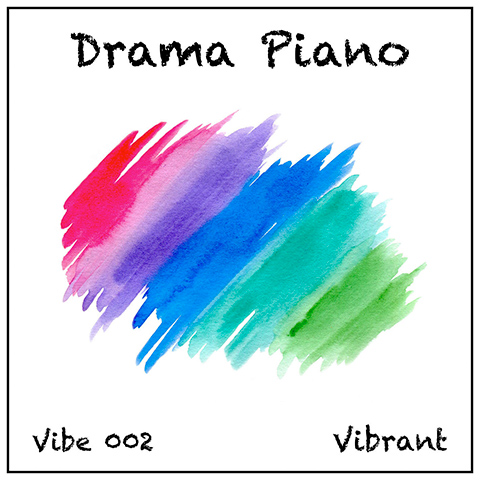 Drama Piano album cover, white with graphics and multi-colour brushstroke wash
