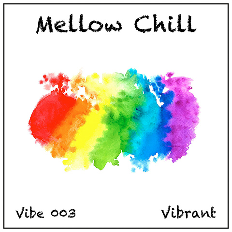 Mellow Chill album cover, white background, black titles and multi-colour brushstroke wash