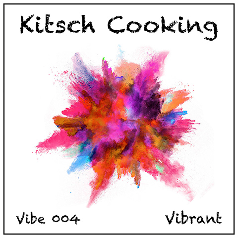 Kitsch Cooking album cover, white background, black titles and multi-colour abstract flower shape
