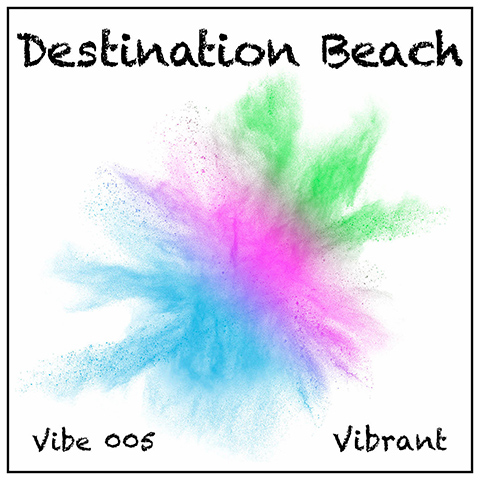 Destination Beach album cover, white background, black titles and pale abstract wash