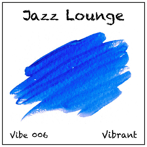 Jazz Lounge album cover, white background, black titles and blue watrcolour wash