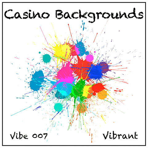 Casino Backgrounds album cover, white background, bright spikey blobs of colour