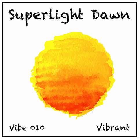 Superlight Dawn album cover, white background, vivid sun in yellow orange watercolour