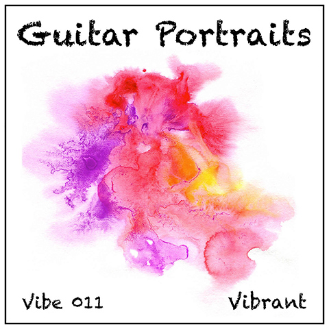 Guitar Portraits album cover, white background, watery purple red pale green wash