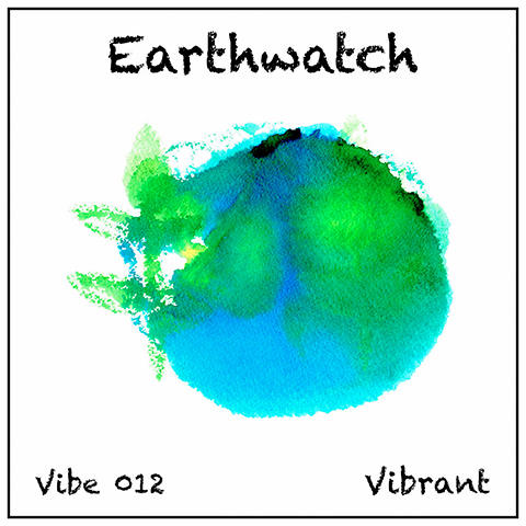 Earthwatch album cover, white background, abstract watercolour of earth in green and blue
