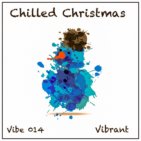 Chilled Christmas album cover, white background, abstract snowman