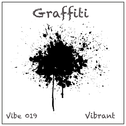 Graffiti album cover, white background, splattered dripping black abstract shape