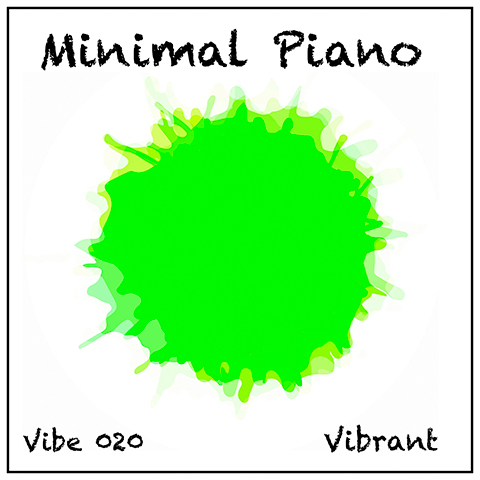 Minimal Piano album cover, white background, pale green watercolour shape