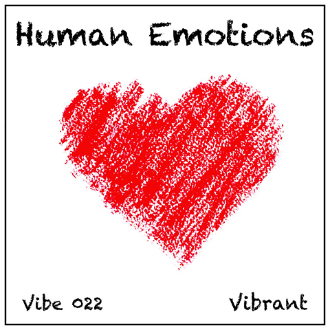 Human Emotions album cover, white background, crayon-style heart symbol