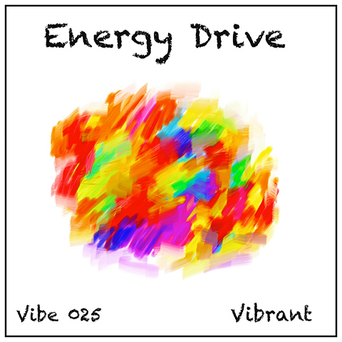 Energy Drive album cover, white background, multi-colour watercolour sphere