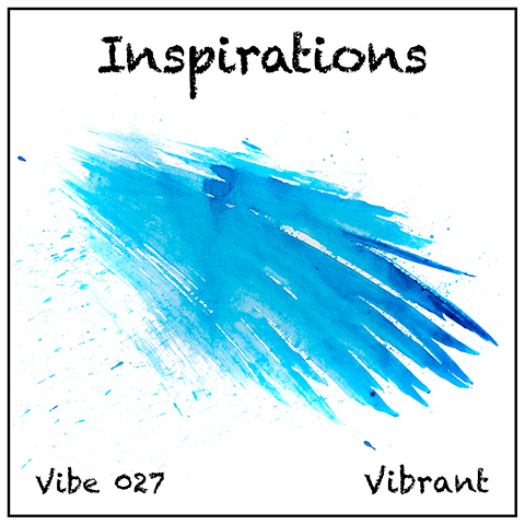 Inspirations album cover, white background, wing-shaped feathery turquoise watercolour