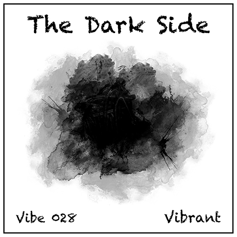 The Dark Side album cover, white background, moody black and grey watercolour wash