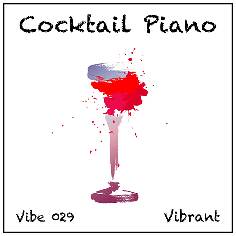 Cocktail Piano album cover, white background, colourful abstract long stem cocktail glass
