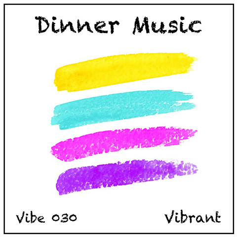 Dinner Music album cover, white background, yellow, turquoise, crimson, purple stripes