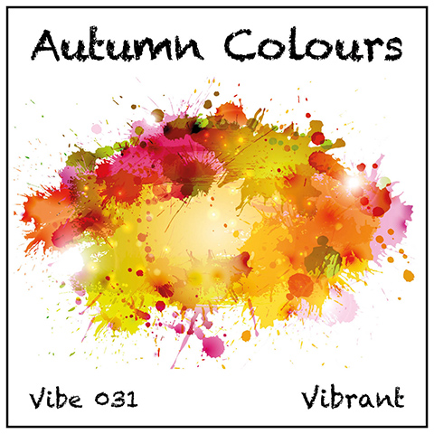 Autumn Colours album cover, white background, watercolour blobs with spiky details