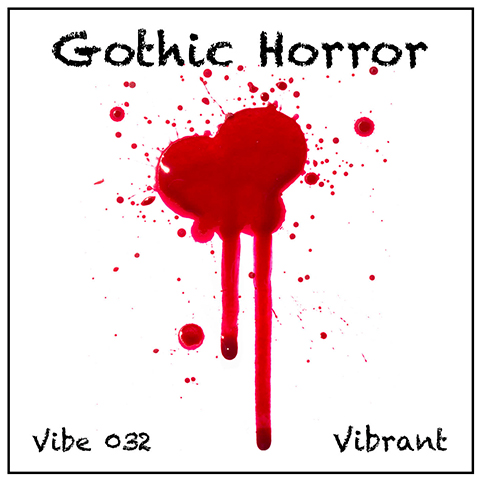 Gothic Horror album cover, white background, dripping blood-red blob