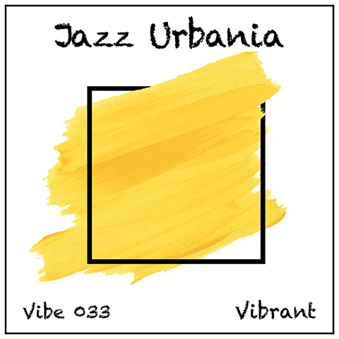 Jazz Urbania album cover, white background, yellow spash in black box