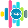 mcps logo: vertical colour bars with mcps in central roundel